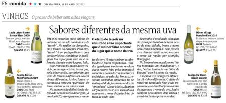 Primeira fotogarfia publicada no artigo Sabores diferentes da mesma uva (Folha de SP)